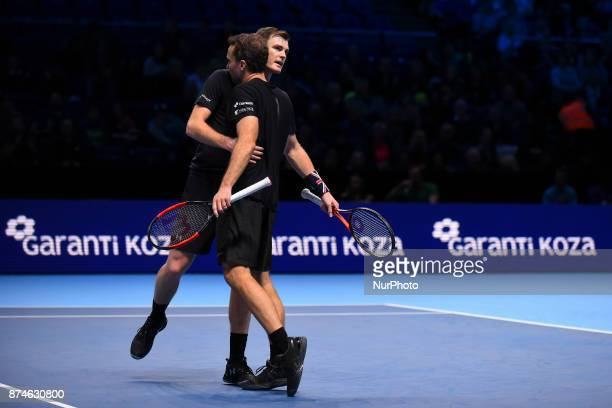 Jamie Murray of Great Britain and Bruno Soares of Brazil celebrate during their Doubles match against Ivan Dodig of Croatia and Marcel Granollers of...