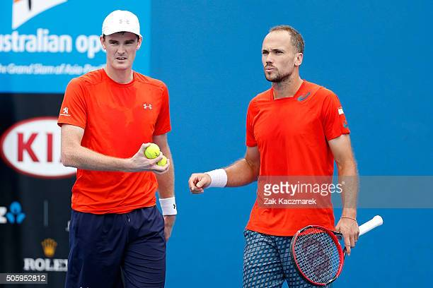 Jamie Murray of Great Britain and Bruno Soares of Brazil compete in their first round match against Jonathan Marray of Great Britain and AisamUlHaq...