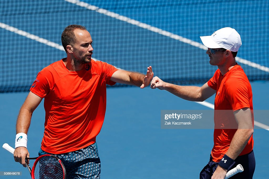 <a gi-track='captionPersonalityLinkClicked' href=/galleries/search?phrase=Jamie+Murray+-+Tennis+Player&family=editorial&specificpeople=4393751 ng-click='$event.stopPropagation()'>Jamie Murray</a> of Great Britain and <a gi-track='captionPersonalityLinkClicked' href=/galleries/search?phrase=Bruno+Soares+-+Tennis+Player&family=editorial&specificpeople=11650044 ng-click='$event.stopPropagation()'>Bruno Soares</a> of Brazil during their third round doubles match against Dominic Inglot of Great Britain and Robert Lindstedt of Sweden during day eight of the 2016 Australian Open at Melbourne Park on January 25, 2016 in Melbourne, Australia.