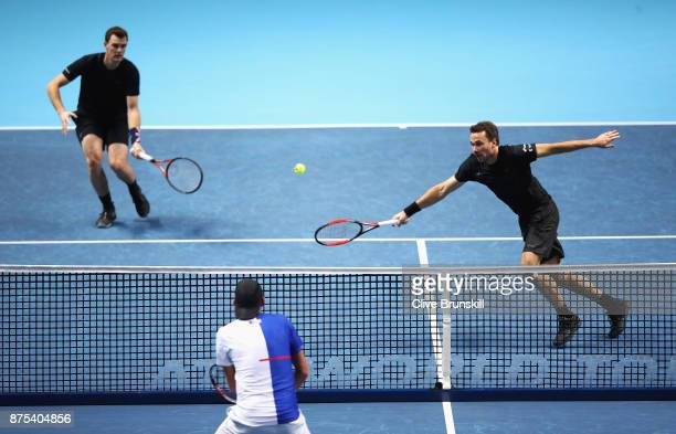 Jamie Murray of Great Britain and Bruno Soares of Brazil in action in the Doubles match against Lukasz Kubot of Poland and Marcelo Melo of Brazil...