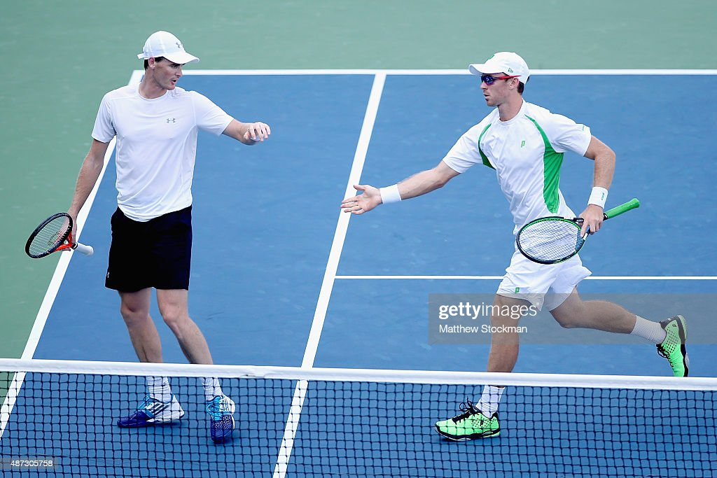 Jamie Murray of Great Britain and John Peers of Australia celebrate a point against Marcin Matkowski of Poland and Nenad Zimonjic of Serbia during...
