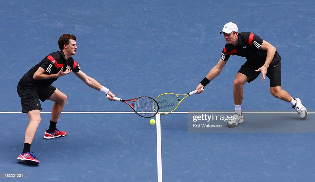 Jamie Murray of Great Britain and John Peers of Australia in action during men's doubles final match against Rohan Bopanna of India and Edouard...