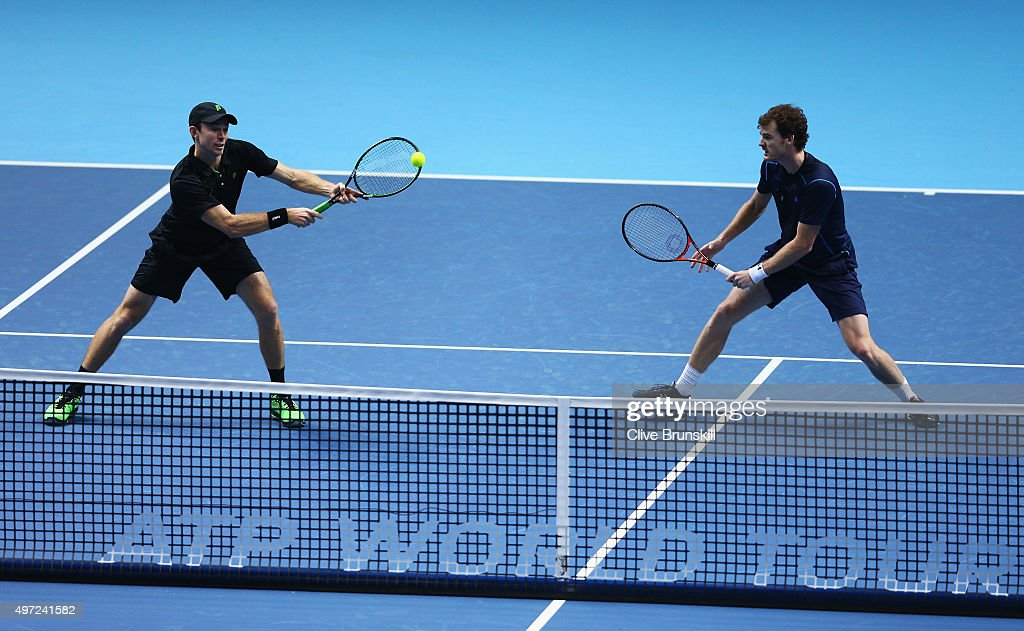 Jamie Murray of Great Britain and John Peers of Australia in action in their men's doubles match against Simone Bolelli and Fabio Fognini of Italy...