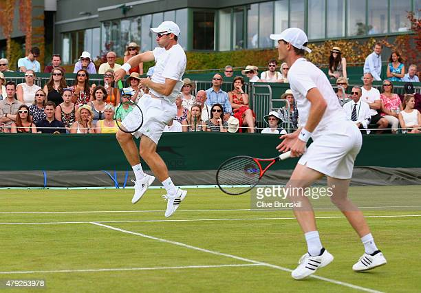 Jamie Murray of Great Britain and John Peers of Australia in their Gentlesmens Doubles First Round match against Luke Bambridge of Great Britain and...