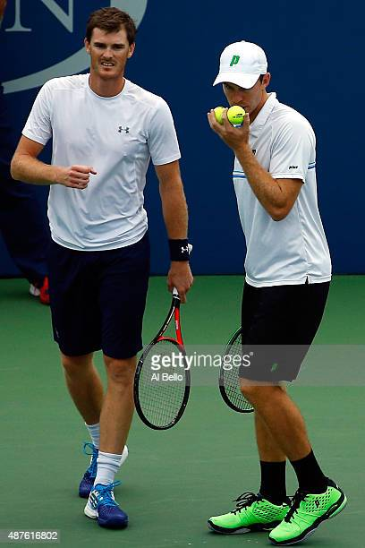 Jamie Murray of Great Britain and John Peers of Australia react against Steve Johnson and Sam Querrey of the United States during their Men's Doubles...