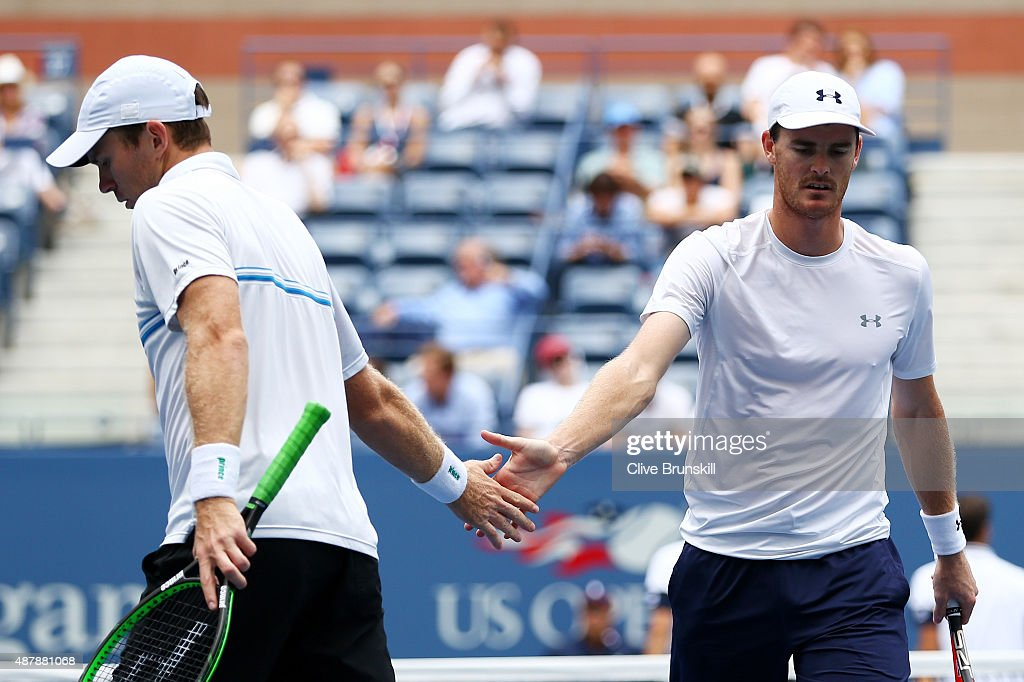 Jamie Murray of Great Britain and John Peers of Australia reacts against PierreHugues Herbert and Nicolas Mahut of France during their Men's Doubles...
