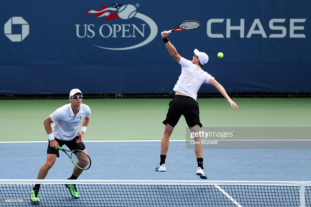 Jamie Murray of Great Britain and John Peers of Australia return a shot to Bjorn Fratangelo and Dennis Novikov of the USA during their Men's Doubles...
