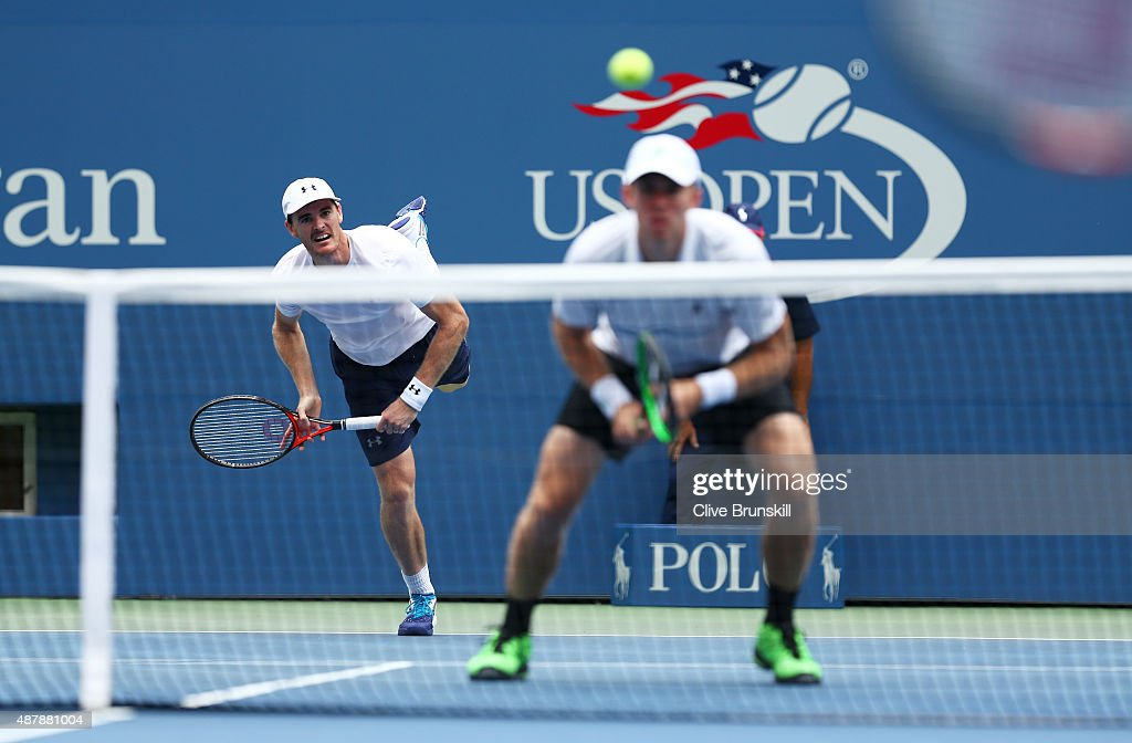 Jamie Murray of Great Britain and John Peers of Australia serve to PierreHugues Herbert and Nicolas Mahut of France during their Men's Doubles Final...
