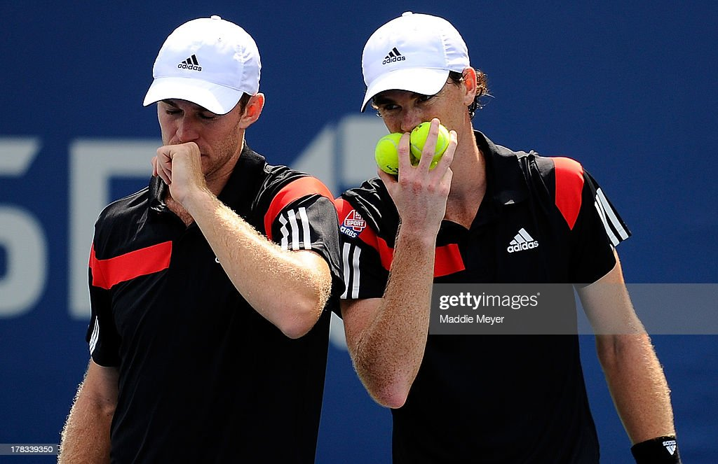 Jamie Murray (R) of Great Britain and John Peers (L) of Australia speak during their first round men's Doubles match against David Marrero and Fernando Verdasco of Spain on Day Four of the 2013 US Open at USTA Billie Jean King National Tennis Center on August 29, 2013 in the Flushing neighborhood of the Queens borough of New York City.