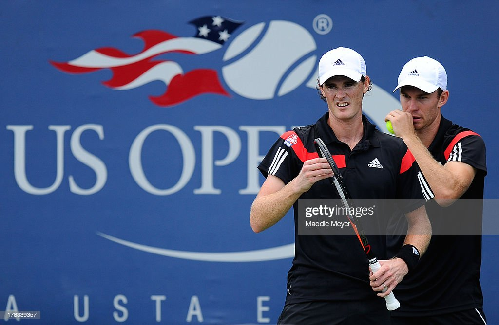 Jamie Murray (L) of Great Britain and John Peers (R) of Australia speak during their first round men's Doubles match against David Marrero and Fernando Verdasco of Spain on Day Four of the 2013 US Open at USTA Billie Jean King National Tennis Center on August 29, 2013 in the Flushing neighborhood of the Queens borough of New York City.