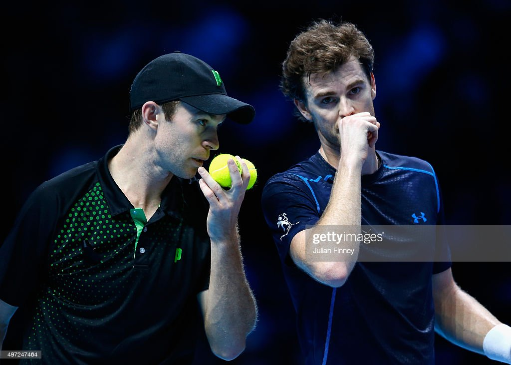 Jamie Murray of Great Britain and John Peers of Australia talk in their men's doubles match against Simone Bolelli and Fabio Fognini of Italy during...