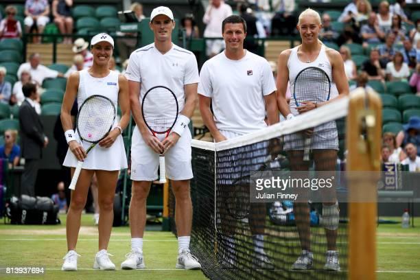 Jamie Murray of Great Britain and Martina Hingis of Switzerland pose with Ken Skupski of Great Britain and Jocelyn Rae of Great Britain during the...