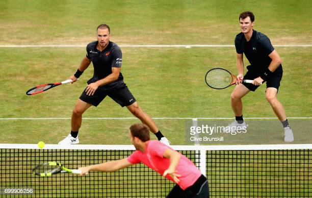 Jamie Murray of Great Britain and partner Bruno Soares of Brazil in action during the mens double match against Ryan Harrison of The United States...