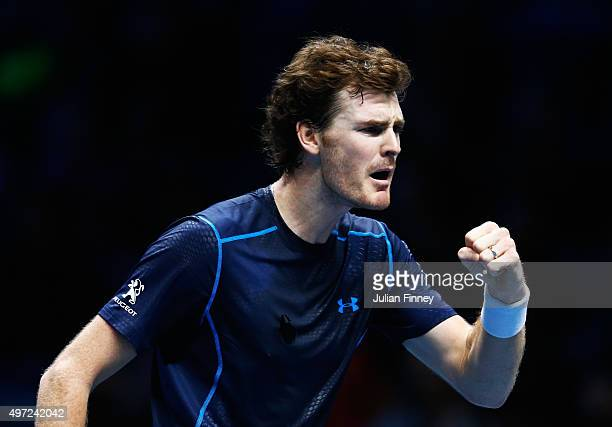 Jamie Murray of Great Britain celebrates a point partnering John Peers of Australia in their men's doubles match against Simone Bolelli and Fabio...