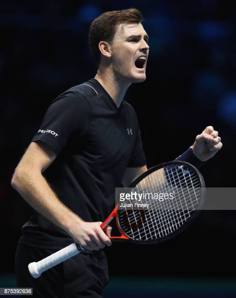 Jamie Murray of Great Britain celebrates partnering Bruno Soares of Brazil in the Doubles match against Lukasz Kubot of Poland and Marcelo Melo of...