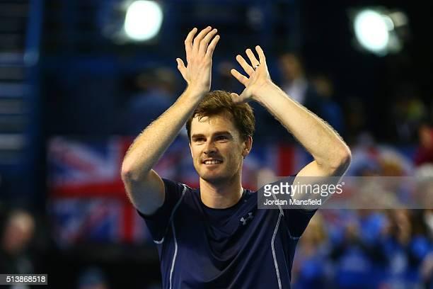 Jamie Murray of Great Britain celebrates victory during the doubles match against Yoshihito Nishioka and Yasutaka Uchiyama of Japan on day two of the...