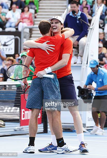 Jamie Murray of Great Britain celebrates with Bruno Soares of Brazil after winning championship point in the Mens Doubles Final against Rohan Bopanna...