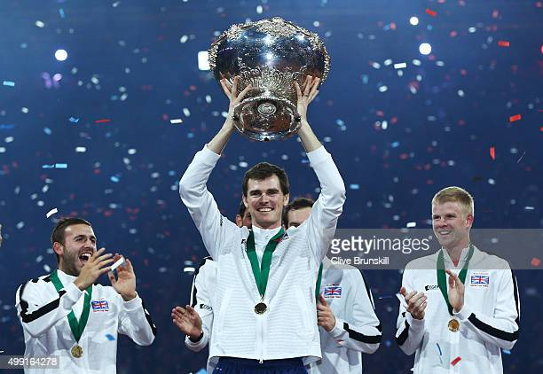 Jamie Murray of Great Britain celebrates with the Davis Cup following victory on day three of the Davis Cup Final 2015 at Flanders Expo on November...