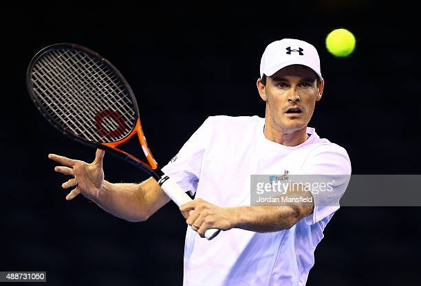 Jamie Murray of Great Britain during a practice session at Emirates Arena on September 16 2015 in Glasgow Scotland