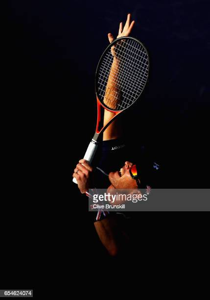 Jamie Murray of Great Britain in action during his doubles match with Bruno Soares of Brazil against Lukasz Kubot of Poland and Marcelo Melo of...