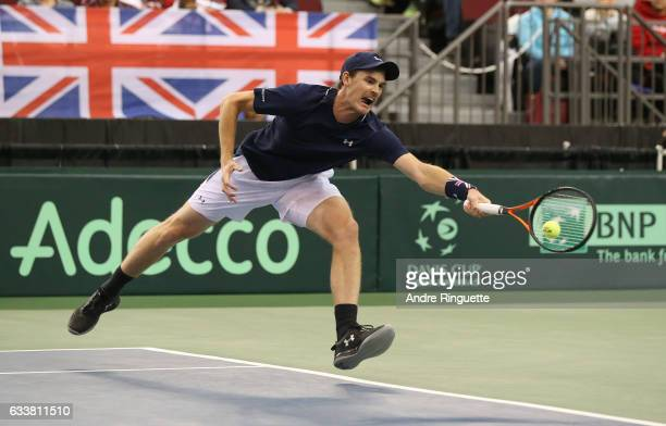 Jamie Murray of Great Britain in action during the doubles match on day two of the Davis Cup World Group tie between Great Britain and Canada at TD...