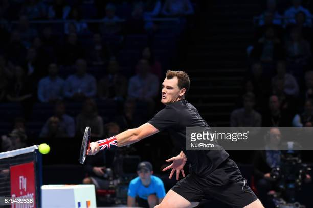 Jamie Murray of Great Britain in action in the Doubles match against Lukasz Kubot of Poland and Marcelo Melo of Brazil during day six of the Nitto...