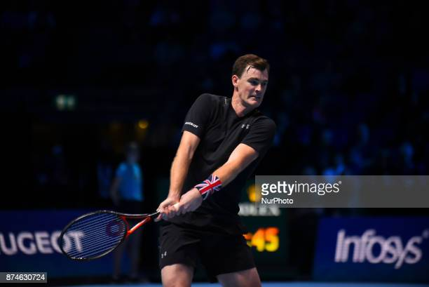 Jamie Murray of Great Britain partner of Bruno Soares of Brazil in action during the doubles match against Ivan Dodig of Croatia and Marcel...