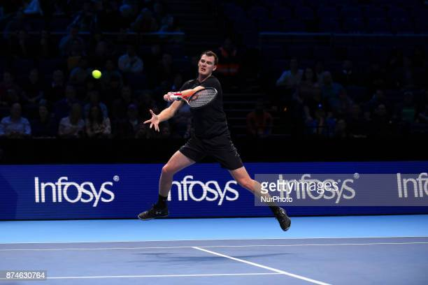 Jamie Murray of Great Britain partner of Bruno Soares of Brazil in action during their Doubles match against Ivan Dodig of Croatia and Marcel...