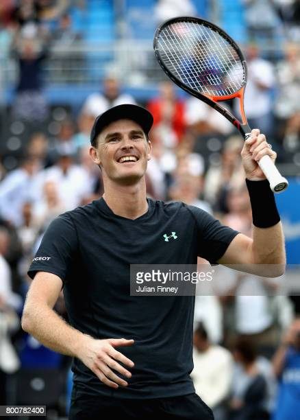 Jamie Murray of Great Britain partner of Bruno Soares of Brazil celebrates victory following the mens doubles final against Julien Benneteau of...