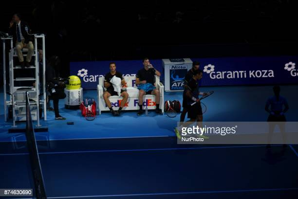 Jamie Murray of Great Britain partner of Bruno Soares of Brazil celebrates during the doubles match against Ivan Dodig of Croatia and Marcel...