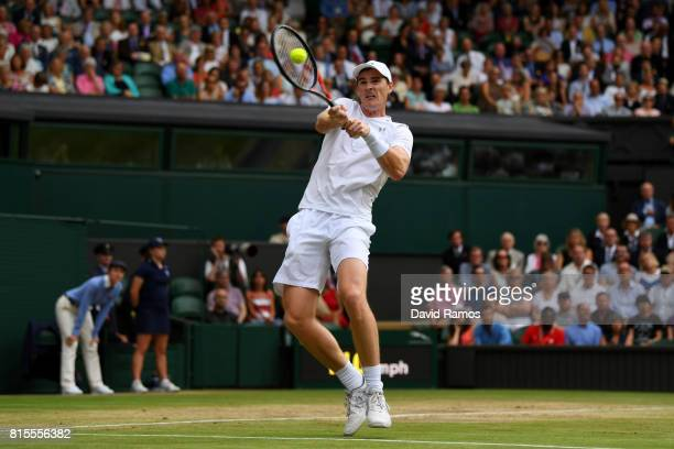 Jamie Murray of Great Britain plays a backhand during the Mixed Doubles final match against Heather Watson of Great Britain and Henri Kontinen of...