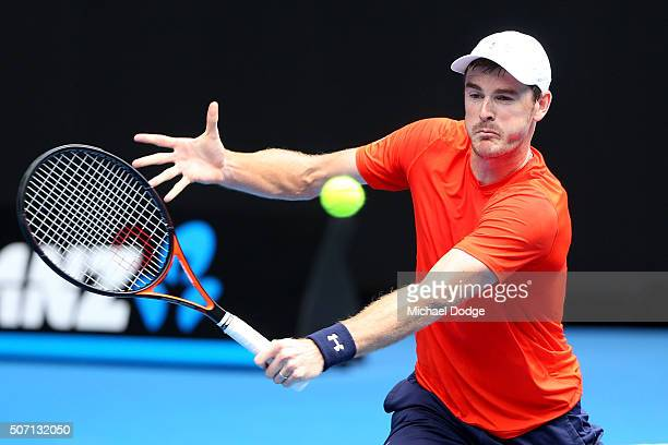 Jamie Murray of Great Britain plays a backhand in his doubles semi finals match with Bruno Soares of Brazil against Adrian Mannarino and Lucas...