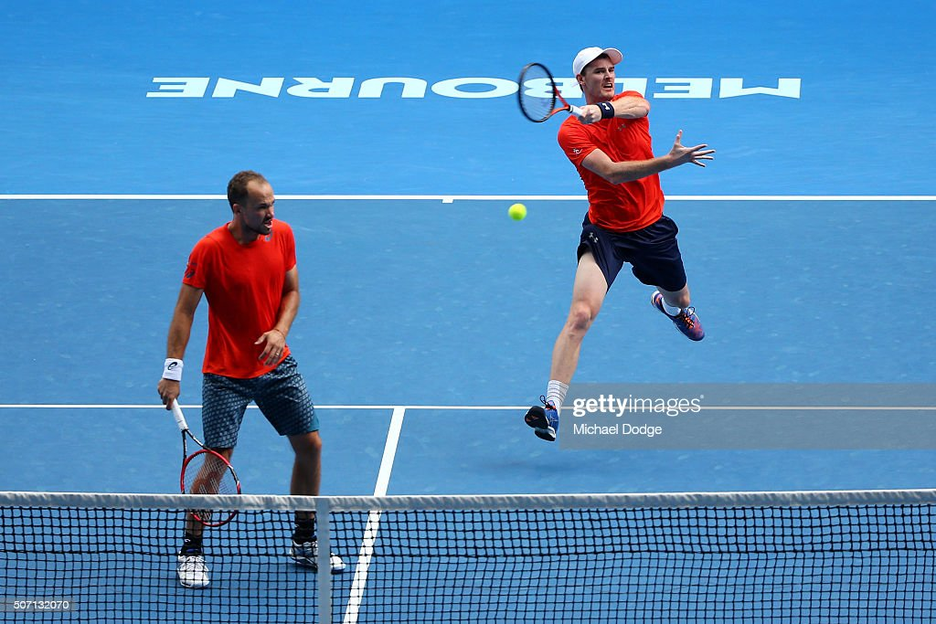 <a gi-track='captionPersonalityLinkClicked' href=/galleries/search?phrase=Jamie+Murray+-+Tennis+Player&family=editorial&specificpeople=4393751 ng-click='$event.stopPropagation()'>Jamie Murray</a> of Great Britain plays a forehand in his doubles semi finals match with <a gi-track='captionPersonalityLinkClicked' href=/galleries/search?phrase=Bruno+Soares+-+Tennis+Player&family=editorial&specificpeople=11650044 ng-click='$event.stopPropagation()'>Bruno Soares</a> of Brazil against Adrian Mannarino and Lucas Pouille of France during day 11 of the 2016 Australian Open at Melbourne Park on January 28, 2016 in Melbourne, Australia.