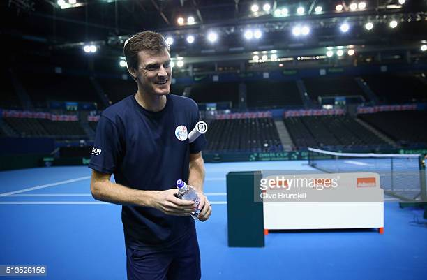 Jamie Murray of Great Britain prepares for a doubles practice session ahead of the start of the Davis Cup World Group 1st round tie between Great...