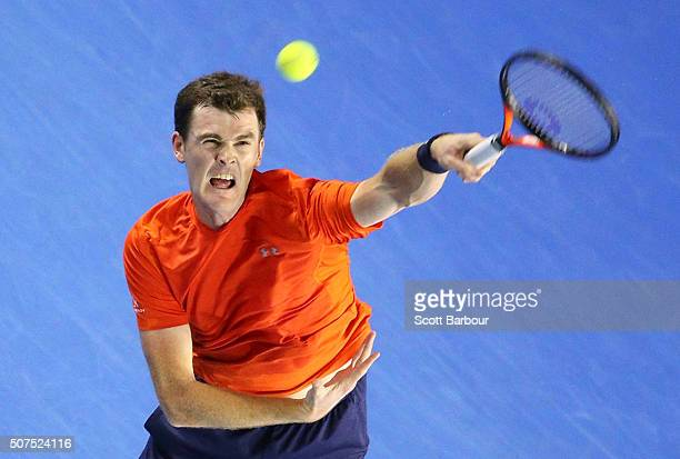 Jamie Murray of Great Britain serves as he plays with Bruno Soares of Brazil in the Men's Doubles Final match against Daniel Nestor of Canada and...