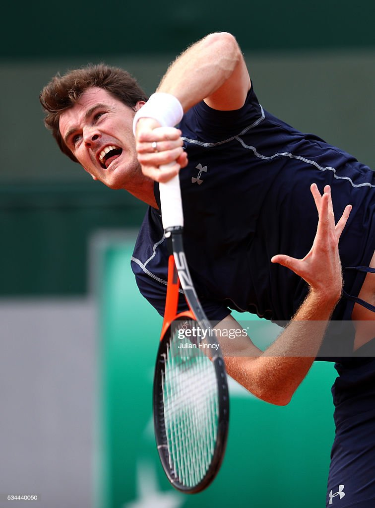 <a gi-track='captionPersonalityLinkClicked' href=/galleries/search?phrase=Jamie+Murray+-+Tennis+Player&family=editorial&specificpeople=4393751 ng-click='$event.stopPropagation()'>Jamie Murray</a> of Great Britain serves during the Mixed Doubles first round match against Daria Gavrilova and John Peers of Australia on day five of the 2016 French Open at Roland Garros on May 26, 2016 in Paris, France.