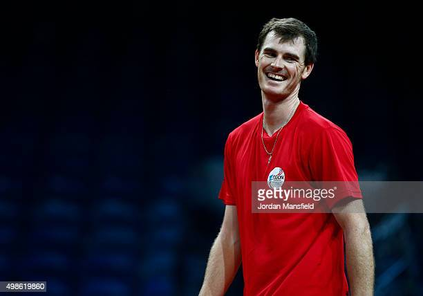 Jamie Murray of Great Britain smiles during a practice session ahead of the start of The Davis Cup at Flanders Expo on November 24 2015 in Ghent...