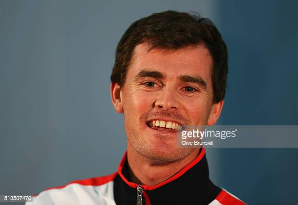 Jamie Murray of Great Britain smiles during a press conference ahead of the Davis Cup World Group 1st round tie between Great Britain and Japan at...