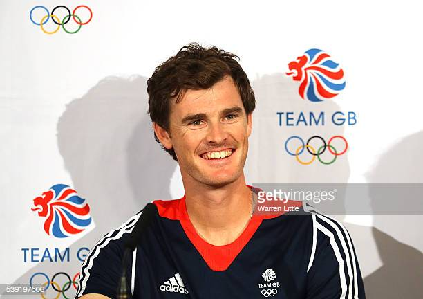 Jamie Murray of Great Britain speaks to the media during an announcement of tennis athletes named in Team GB for the Rio 2016 Olympic Games at The...