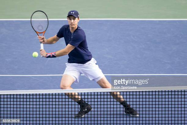Jamie Murray of Great Britain volleys the ball back against Vasek Pospisiland Daniel Nestor of Canada in men's doubles play on February 04 2017...