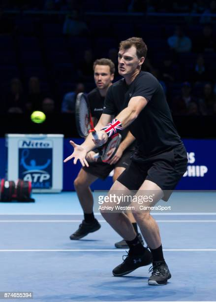 Jamie Murray of Great Britain with partner Bruno Soares of Brazil in action during their victory over Ivan Dodig of Brazil and Marcel Granollers of...
