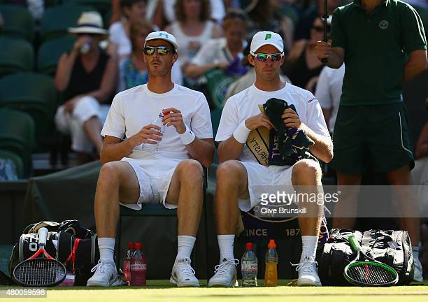 Jamie Murray of Great Britain with partner John Peers of Australia in the Gentlemens Doubles Semi Final match against Jonathan Erlich of Israel and...