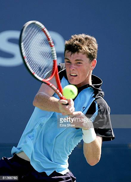 Jamie Murray of Great Britian returns to Alexander Clayton during the US Open September 6 2004 at the USTA National Tennis Center in Flushing Meadows...