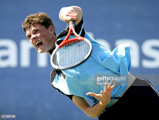 Jamie Murray of Great Britian serves to Alexander Clayton during the US Open September 6 2004 at the USTA National Tennis Center in Flushing Meadows...