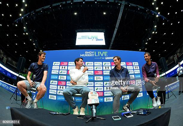 Jamie Murray of Scotland Tim Henman of England Andy Murray of Scotland and Grigor Dimitrov of Bulgaria at a media conference during Andy Murray Live...