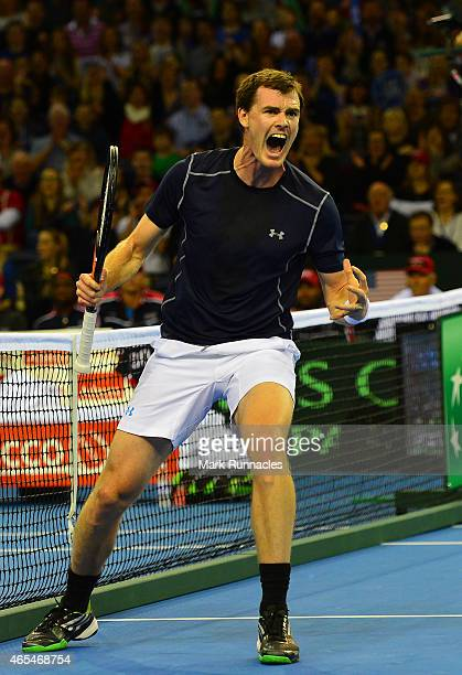 Jamie Murray of the Aegon GB Davis Cup Team celebrates winning a vital point against Mike Bryan and Bob Bryan of the United States during the doubles...