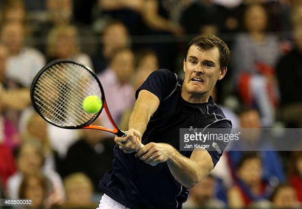 Jamie Murray of The Aegon GB Davis Cup Team in action against Mike and Bob Bryan of the United States during Day 2 of the Davis Cup match between GB...