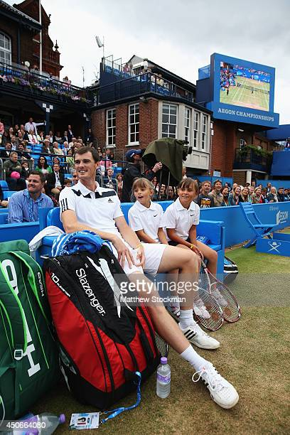 Jamie Murray plays in a 'Rally for Bally' charity event on day seven of the Aegon Championships at Queens Club on June 15 2014 in London England The...