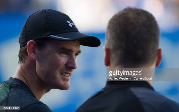 Jamie Murray with partner Bruno Soares during their victory over Ryan Harrison and Michael Venus in the Men's Doubles Quarter Finals Match during Day...
