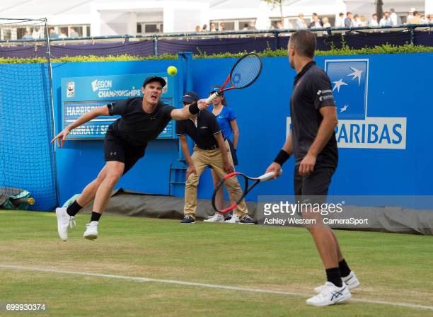 Jamie Murray with partner Bruno Soares in action during their victory over Ryan Harrison and Michael Venus in the Men's Doubles Quarter Finals Match...